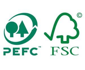 Vi är certifierade inom PEFC och FSC (grönt kort)